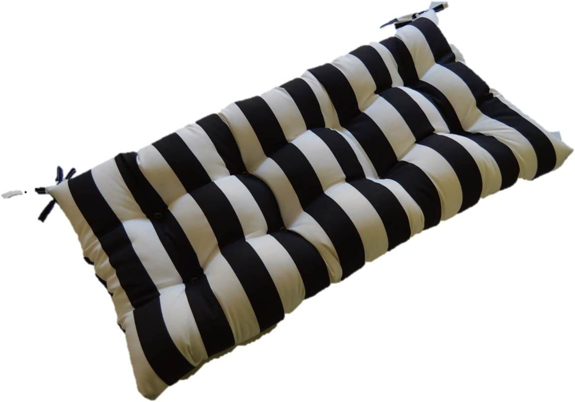 Resort Spa Home Decor Black and White Stripe Indoor Outdoor Tufted Cushion for Bench, Swing, Glider – Choose Size 43 x 18
