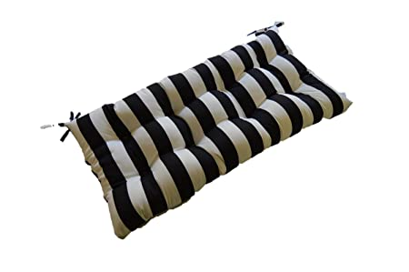 Black and White Stripe Indoor Outdoor Tufted Cushion for Bench, Swing, Glider – Choose Size 27 x 14