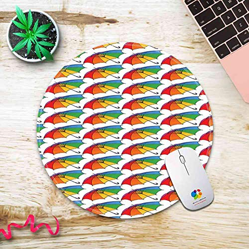 Round Mouse Pad Mousepad with Umbrella,Spring Open Classical Umbrellas with Rainbow Colored Canopy Cheerful and Seasonal,Multicolor Pattern Gel Rubber for Gaming Office - 200MMx3MM (Umbrella Natural Colored Canopy)