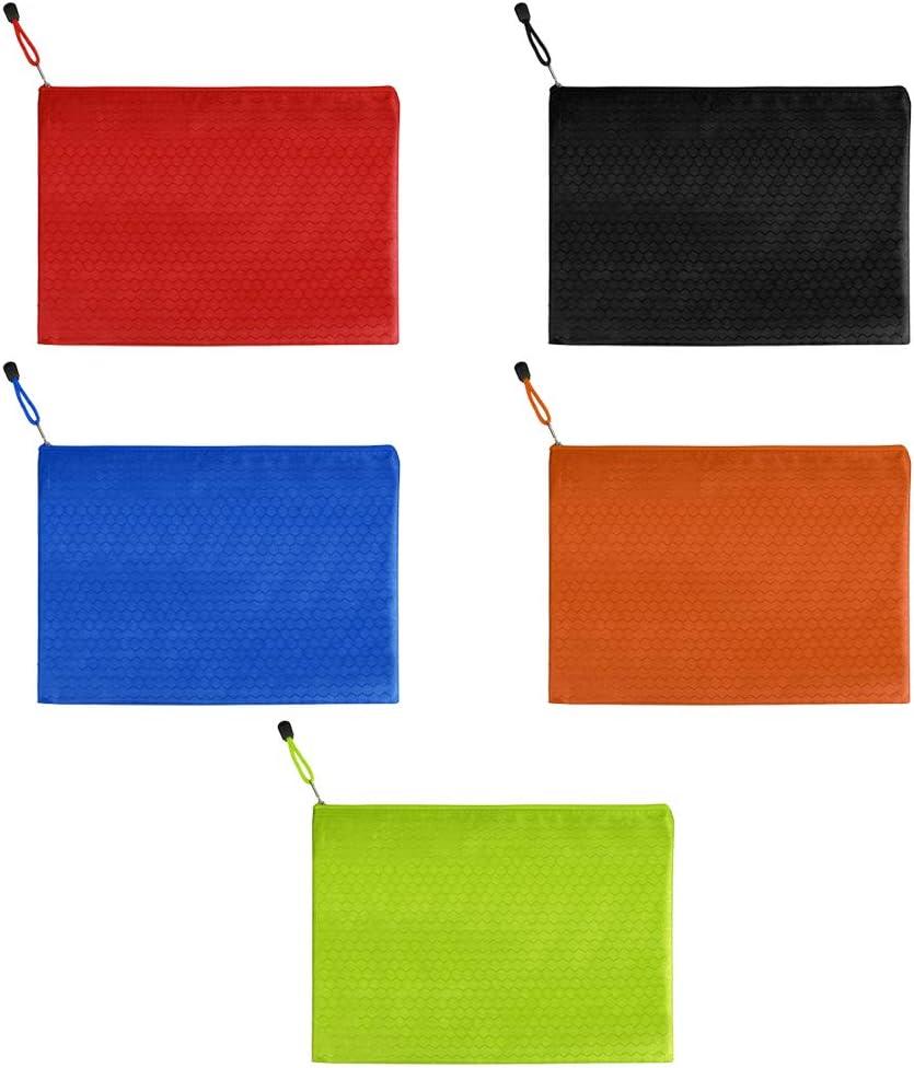 IWILCS 5 piezas Cartera de documentos con cremallera A4, Bolsas de billetera de plástico con cremallera Oxford, Bolsa de archivo de lona, Bolsa de archivo de rejilla, 5 colores