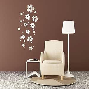 Adhesivo decorativo para pared, Chshe 3D, flores, espejo