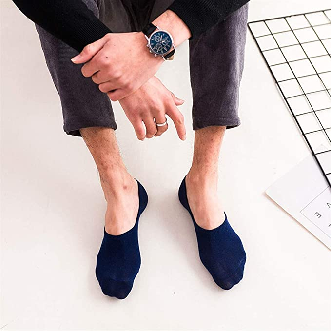Nice Men Breathable Athletic Socks Low Cut with Non Slip Grip Invisible Socks Boat Shoes For Oxfords Loafers Sneakers Durable (Color : As Shown, ...