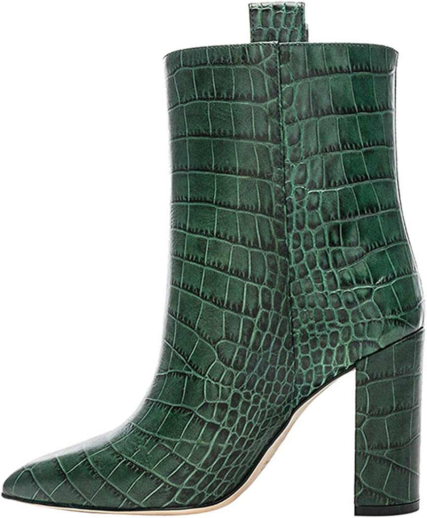 green heeled ankle boots