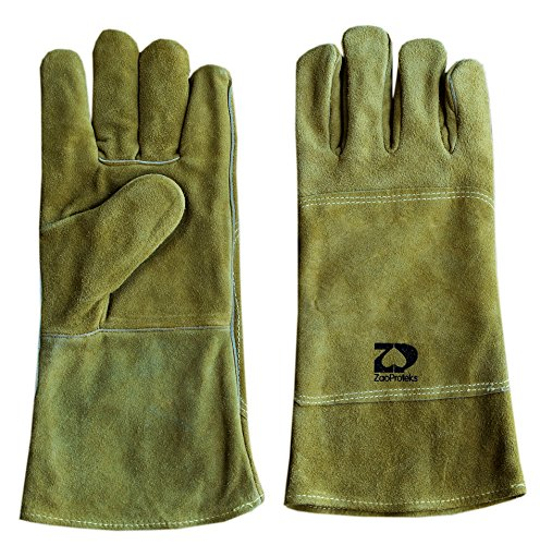 ZaoProteks ZP1702 Cowhide Leather Heat Resistant Welding Gloves,Work Gloves - Large ---For Welding / Gardening / Camping / Fireplace / Hearth / Stove / Grill / Barbecue and so on (Pale Yellow) (Bar Grill Edge And)