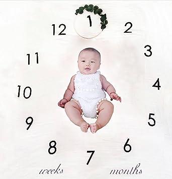 Newborn baby milestone blanket baby birthday photography photo props swaddle blanket oenbopo baby monthly