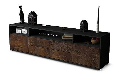 mit Push-to-Open Technik und Hochwertigen Leichtlaufschienen Korpus in Weiss Matt//Front im Holz-Design Eiche Made in Germany 180x49x35cm Stil.Zeit TV Schrank Lowboard Aurelia