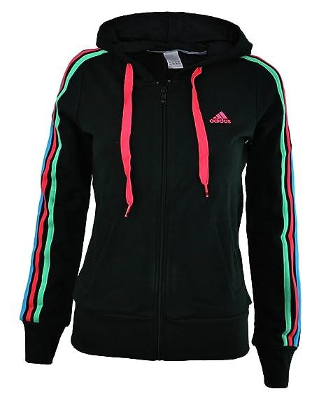 adidas ESS 3S Hooded Jacket Veste Femme Sweat à Capuche Noir