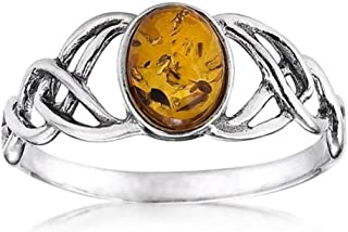 Noda bague pour femme - Noeud celtique solitaire ovale - en argent 925 et ambre 22862-9