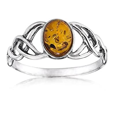 Amber Sterling Silver Oval Celtic Knots Ring uh2U4SmX