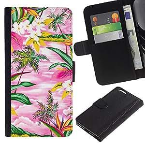 Planetar® Modelo colorido cuero carpeta tirón caso cubierta piel Holster Funda protección Para Apple (5.5 inches!!!) iPhone 6+ Plus ( Watercolor Pink Hawaii Palm Trees Island )