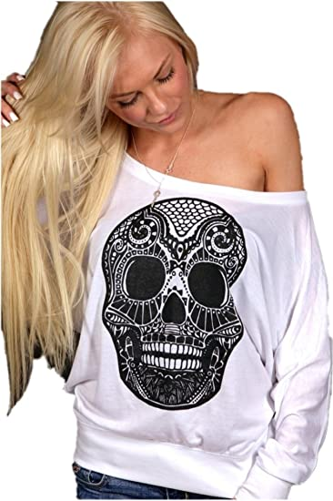 892ccf0f15 Image Unavailable. Image not available for. Color: Venxic Women's Cool Skull  Long Sleeve Tank Tops Plus Size White X-Large