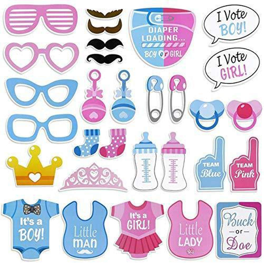 Gender Reveal Party Supplies - Boy or Girl Gender Reveal Party Kit with Foil Balloons, Blue & Pink Balloons, Paper Pom Poms, Paper Straws, Photo Props, Banner Decorations