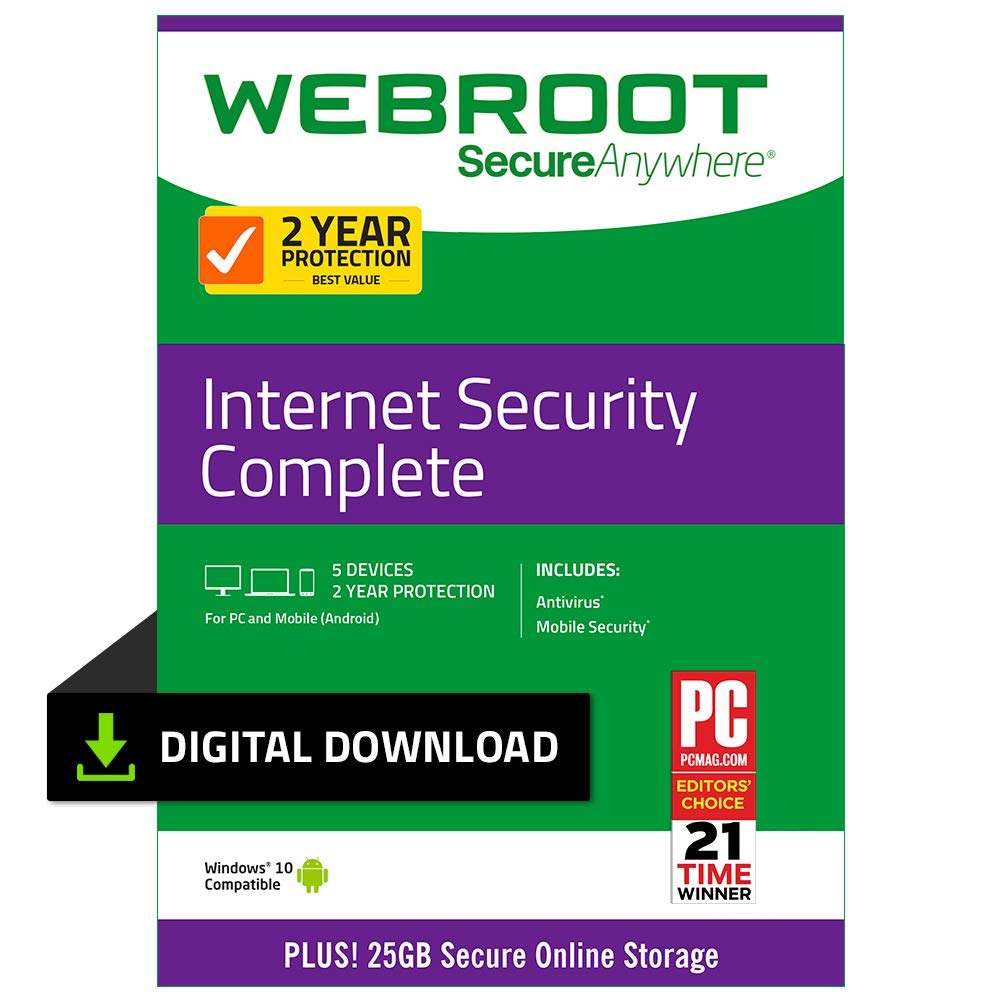 Webroot Internet Security Complete with Antivirus Protection - 2019 Software | 5 Device | 2 Year Subscription | PC Download by Webroot