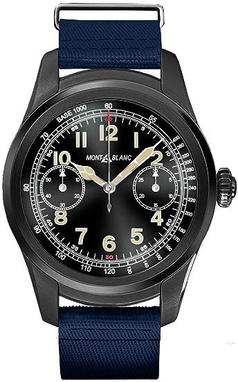 Montblanc Cumbre Smartwatch 117540 negro caja de acero inoxidable con correa de caucho de color azul marino: Amazon.es: Relojes