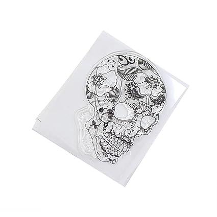Runrain Skull - Agenda de silicona transparente con sello de ...