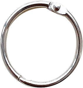 KTOJOY 1.5Inch (20 Pack) Loose Leaf Binder Rings, Nickel Plated Steel Binder Rings, Keychain Key Rings, Metal Book Rings, Silver, for School, Home, or Office