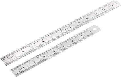 Sourcingmap Regla de metal, regla pulgadas y centímetros, regla de medición, 2 unidades: Amazon.es: Bricolaje y herramientas