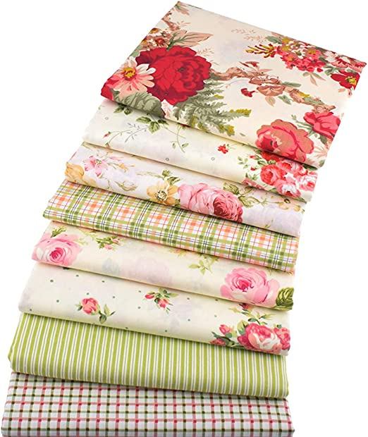 8 piezas de tela de algodón para manualidades, diseño floral, 46 x 56 cm: Amazon.es: Amazon.es