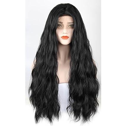 ZeroBlizzard Peluca de pelo largo, pelo sintético ondulado, parte media, sin pegamento,