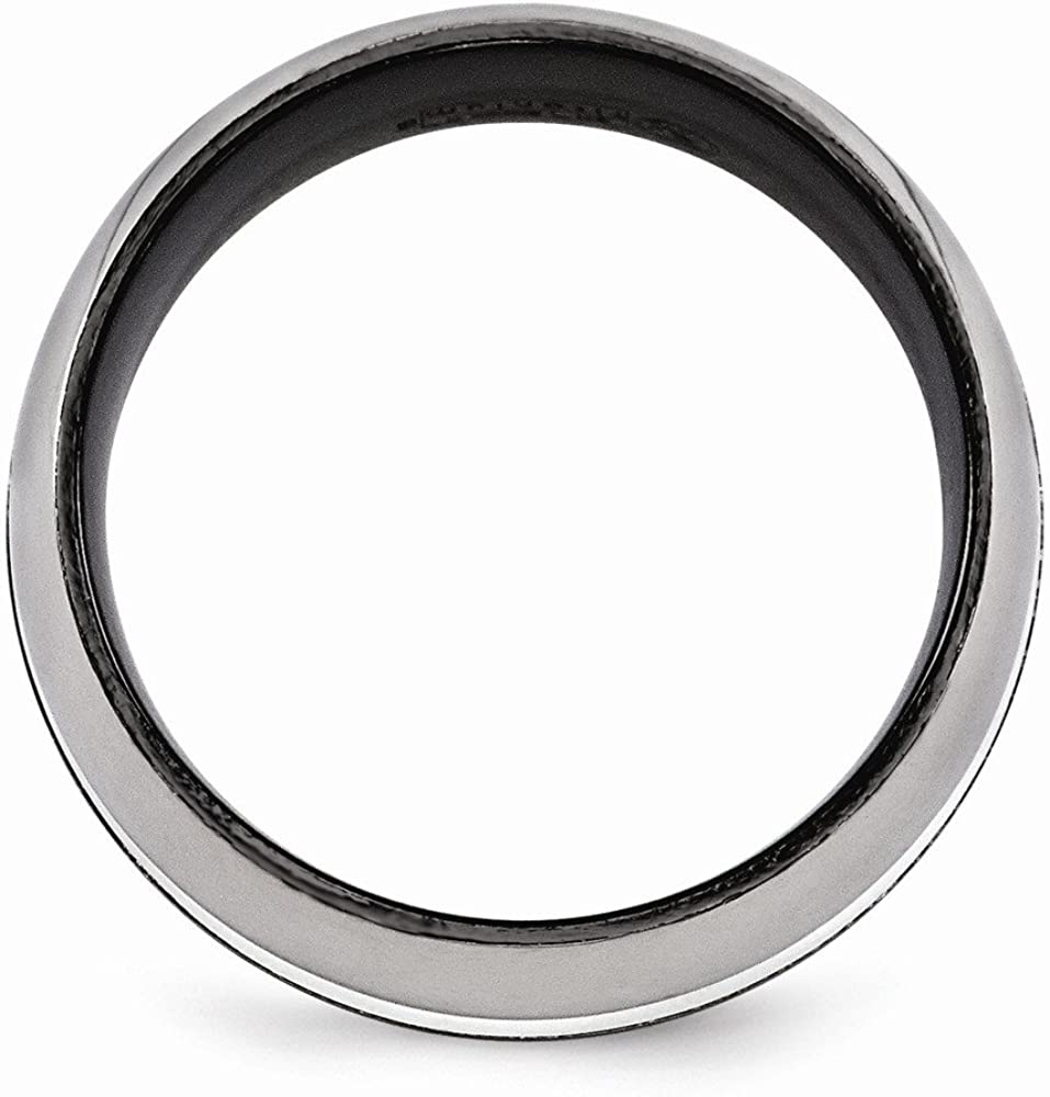 Bridal Wedding Bands Fancy Bands Edward Mirell Black Ti with Sterling Silver Inlay Brushed and Polished 9mm Ring Size 9.5