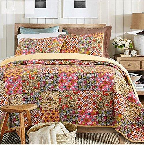 100% Cotton 3-Piece Patchwork Bedspread/Quilt Sets King