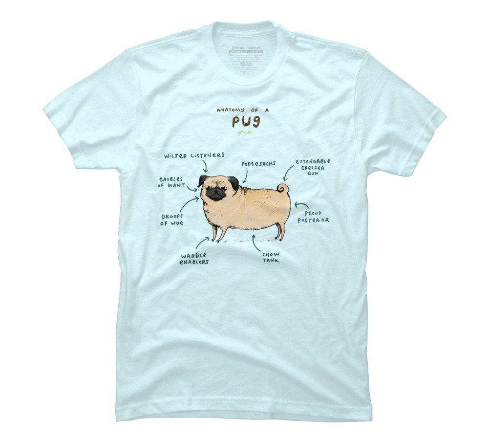 c095f2424c75 Amazon.com  Anatomy of a Pug Men s Graphic T Shirt - Design By Humans   Clothing