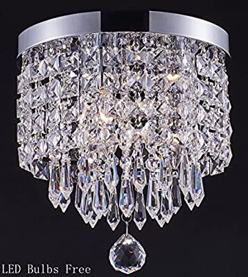 Smart Lighting-Shupregu 3-light modern Crystal Chandelier, Flush Mount Crystal Ceiling Light, Chrome Finish Pendent Light for Hallway, Bedroom, Kitchen, Adjustable LED Bulbs Included