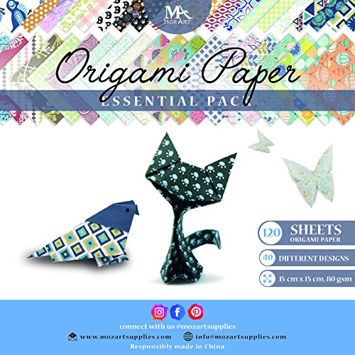 Floral Origami - Origami Paper Set - 120 Sheets - Traditional Japanese Folding Papers including Floral, Animal Prints, Aztec, Geometric - Create Flowers, Crane, Owl, Dragon, Animals - Origami papers for Kids & Adults