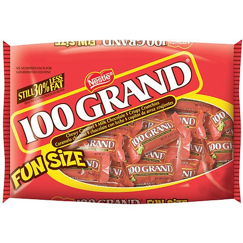 Nestle 100 Grand Fun Size Candy Bars, 11 oz (Pack of 4)