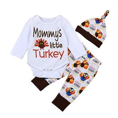❤ Mameluco de la Navidad para bebé, bebé recién Nacido Carta del bebé de la mameluja Tops + Pants + Hat Trajes de Acción de Gracias Absolute: Amazon.es: ...