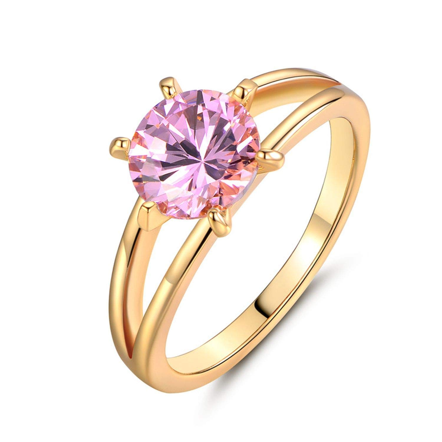 tankmm Fashion Brand Wedding Ring Gold Color Finger Ring Simple Big Pink Crystal Cubic Zirconia Band Jewelry for Women