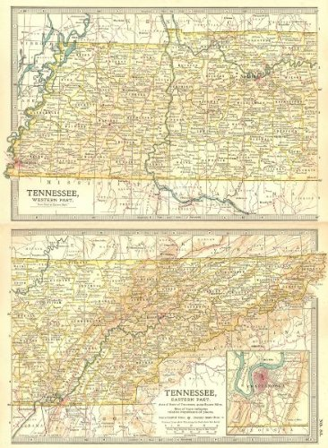 Amazon Com Tennessee State Map Shows Civil War Battlefields