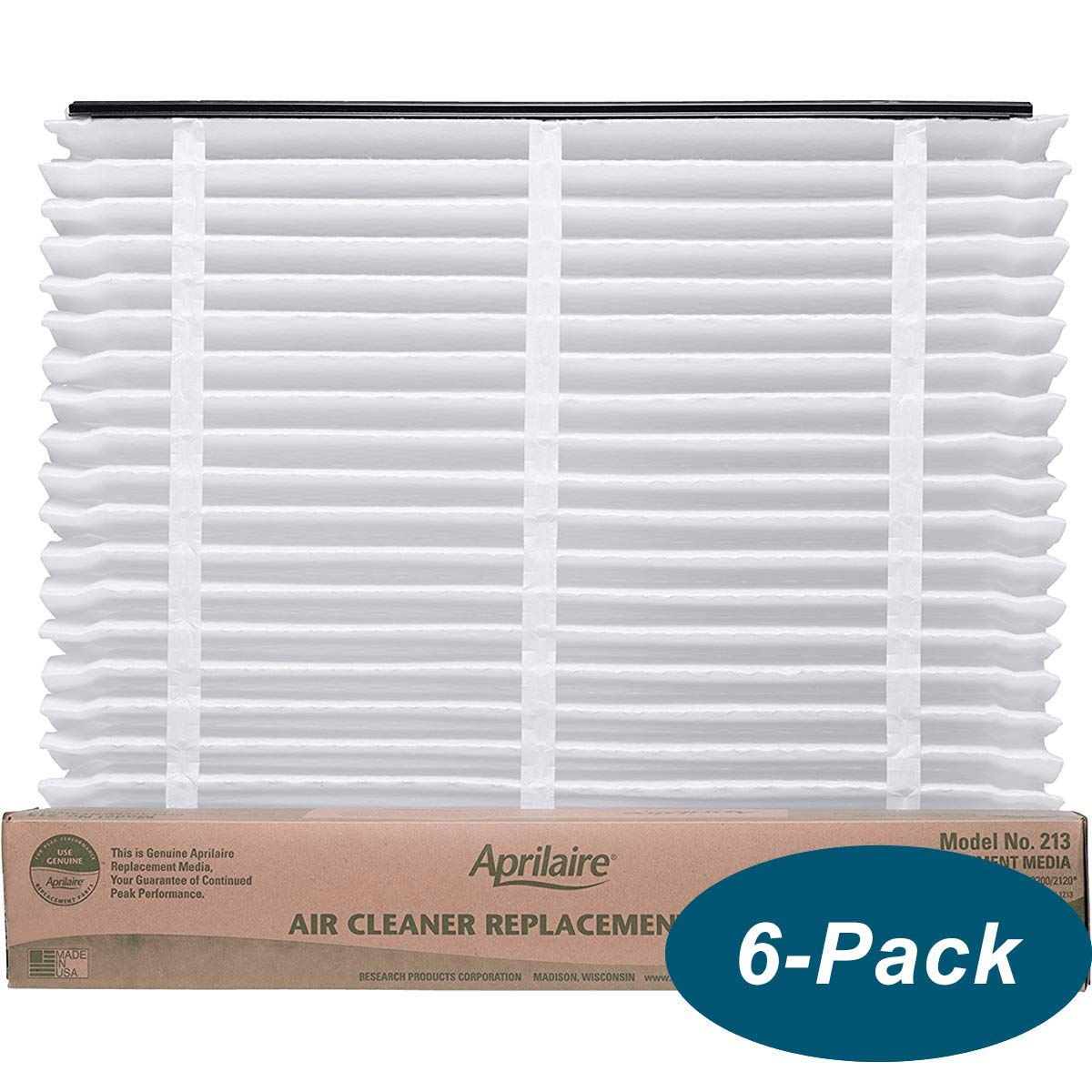 """6 Pack of Aprilaire 213 MERV 13 Replacement Filter Media. 20"""" x 26"""" x 4"""". Brand New Genuine Aprilaire Product."""