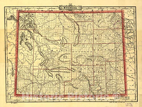 (Historic 1895 Map | Cram's Township and Railroad map of Wyoming. 59in x 44in)