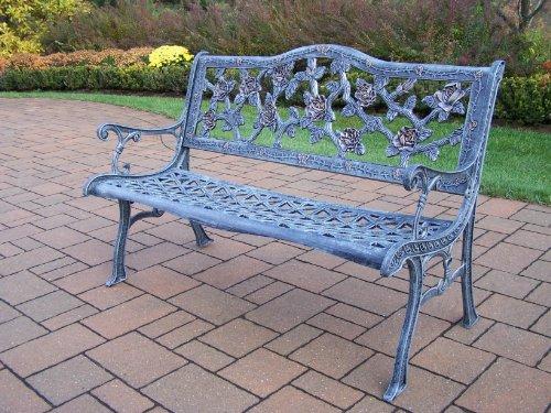 - Oakland Living English Rose Cast Aluminum Bench, Antique Verdi