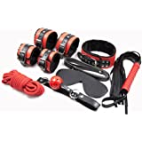 Fetish Sex Bed Bondage Restraints Kit with Hand Cuff Ankle Cuff Whip Blindfold Sex Slave Neck Collar Mouth Gag Bondage Rope for Couples - Red and Black