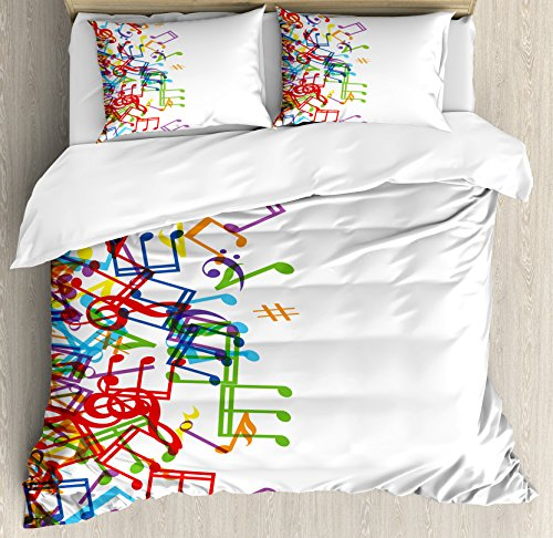 - Ambesonne Colorful Home Decor Duvet Cover Set, Trippy Style Music Notes with Clef Rhythm Tempo Melody Harmony Print, 3 Piece Bedding Set with Pillow Shams, Queen/Full, Multi White