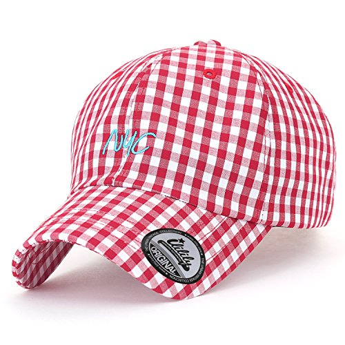 ililily Plaid Pattern Baseball Cap NYC Embroidered Casual Trucker Hat, Red Plaid