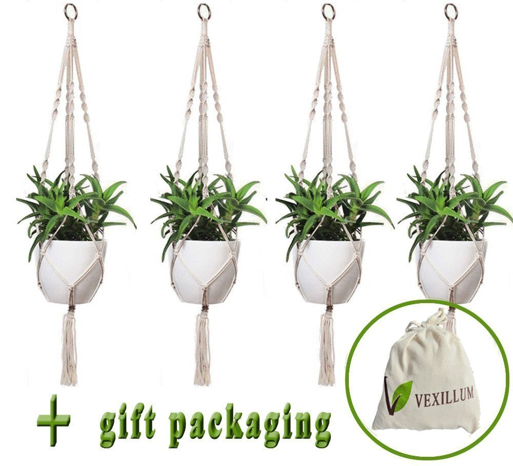 VEXILLUM 4 Pieces, 4 Legs, 39 inches, Macrame Cotton Plant Hangers for Indoor Outdoor Decorations, Plant Holder Flower Pot Hangers for Hanging Baskets,Balcony Patio Deck Ceiling Large,Pot Not Included
