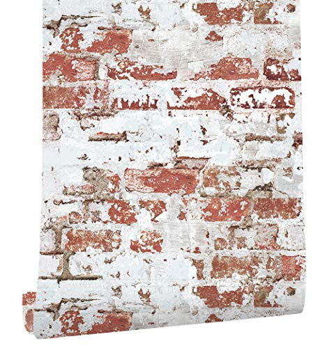 HaokHome 2025 Distressed Faux Brick Wallpaper Whitewash/Red for Home Kitchen Decor 20.8