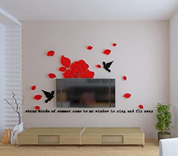 3D Acryl Worte Vögel Mit Blumen Wand Aufkleber Für Home Wohnzimmer Sofa TV  Hintergrund Küche Raum