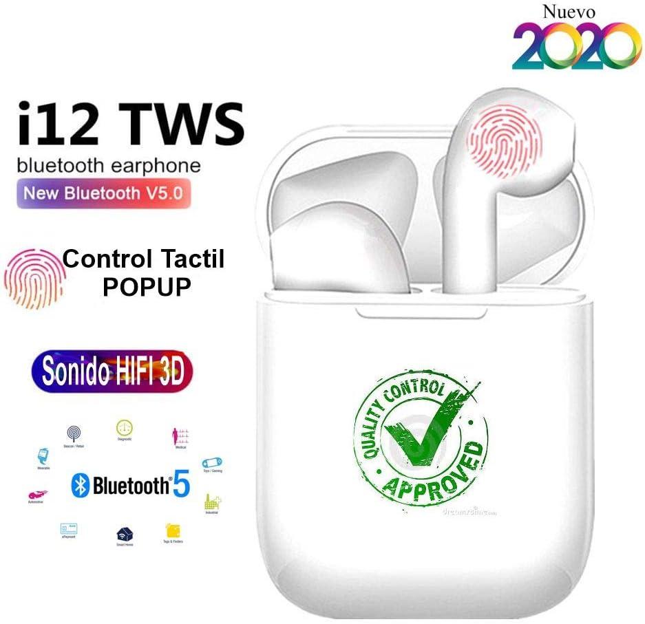 i12 TWS 2020 Auriculares Inalámbricos Bluetooth 5.0, Deportivos IPX7, Impermeable, 3D Estéreo, Micrófono, Estuche Carga portátil Dual y Caja de Carga para All Smartphones, PC, Cancelación de Ruido.
