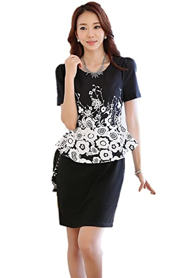 1d395c999d995 花柄ワンピース 2色 モノトーン ツーピース風ドレス パッケージヒップ タイトスカート ペンシルドレス ウエスト