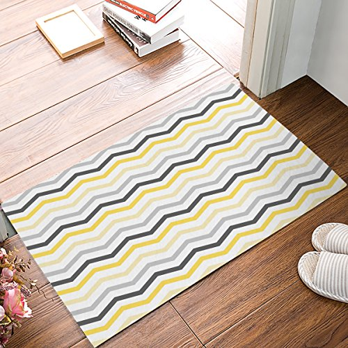 Indoor Doormat Stylish Welcome Mat Gray Yellow and White Chevron Zig Zag Entrance Shoe Scrap Washable Apartment Office Floor Mats Front Doormats Non-Slip Bedroom Carpet Home Kitchen Rug 23.6