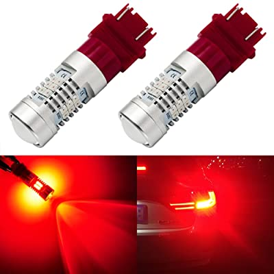ENDPAGE 3157 3156 3057 3056 LED Bulb 2-pack, Brilliant Red, Extremely Bright, 21-SMD with Projector Lens, 12-24V, Works as Brake Lights, Tail Lights, Turn Signal Blinkers: Automotive