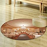 Print Area rug A bright hotel restaurant Perfect for any Room, Floor Carpet -Round 63''