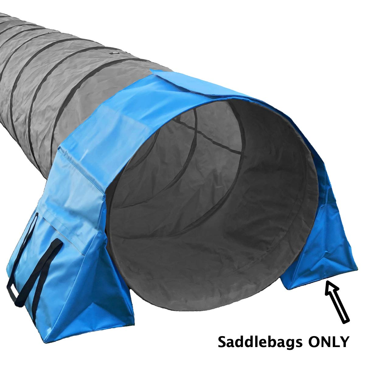 Rise8 Studios Non-Constricting Saddlebags for Stabilizing Dog Agility Tunnel Equipment Indoor or Outdoor, Blue Color (1 Pack)
