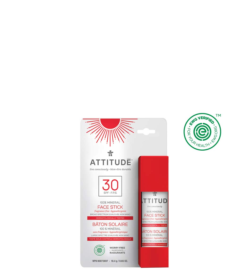 ATTITUDE Natural Care, Hypoallergenic 100% Mineral Sunscreen Face Stick, Spf 30, 0.65 oz