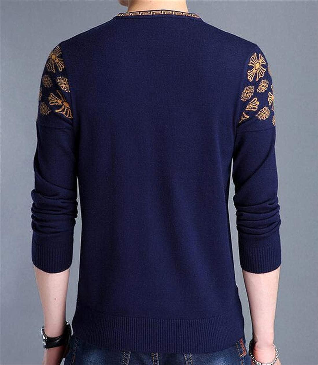 Nanquan Men Slim Knit Pullover V-Neck Long Sleeve Jumper Print Sweater