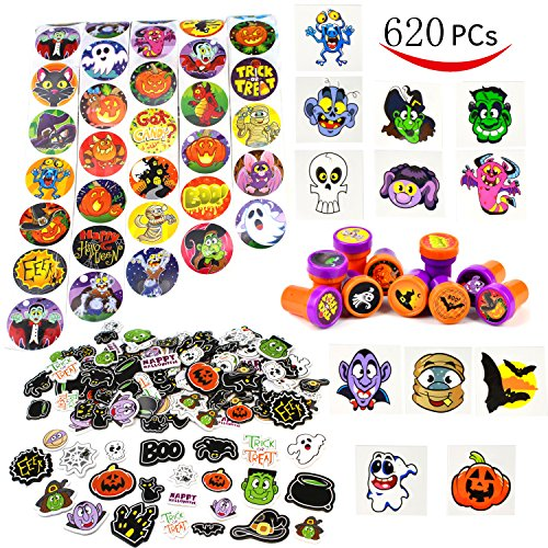 JOYIN Over 600 Pieces Halloween Craft Assortment Kit Including Halloween Temporary Tattoos Halloween Stickers, Halloween Stampers Foam Stickers for Halloween Party Faovrs Halloween Craft Supplies -